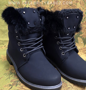 Fur Trim Waxed Leatherette Worker Boot In Black