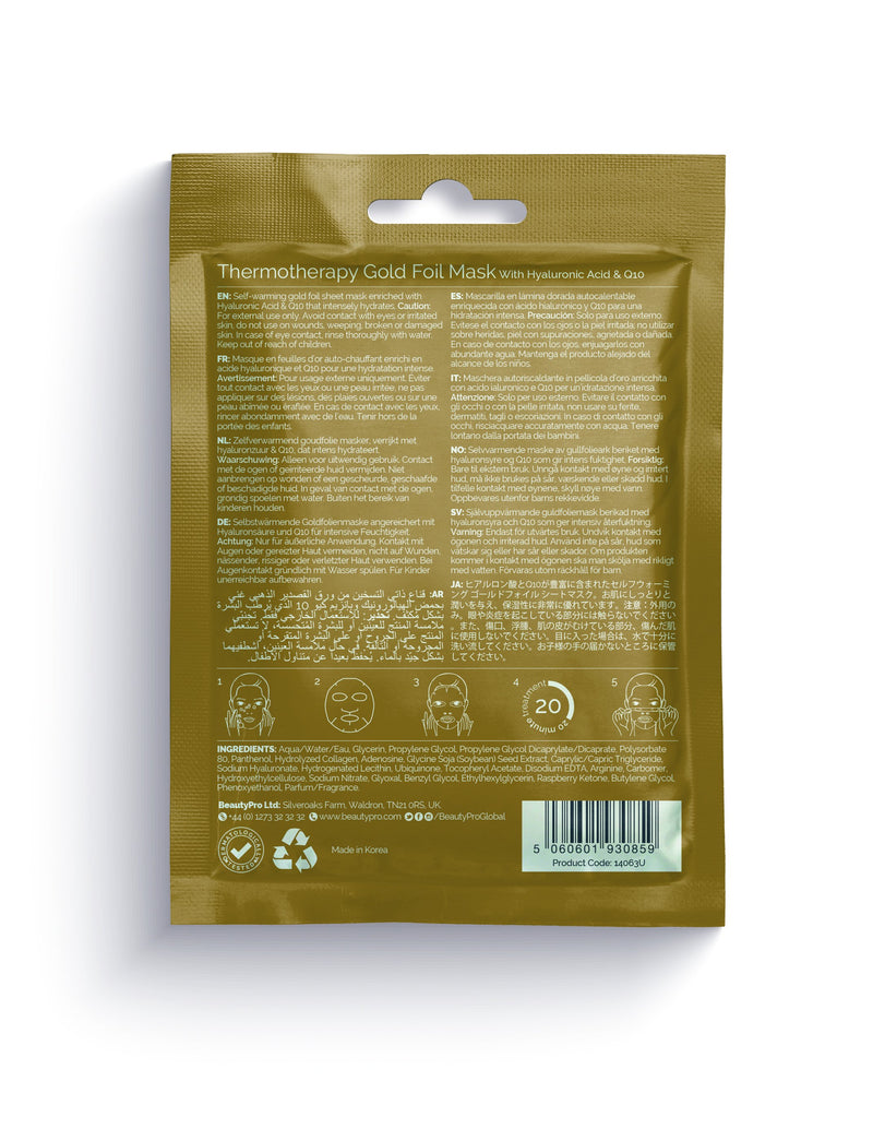 BeautyPro Thermotherapy Warming Gold Foil Mask, 25ml - MyBeautyBar.co.uk