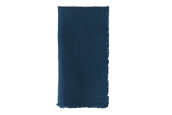Lithuanian Linen Fringe Napkin in Dark Blue - Canvas Home