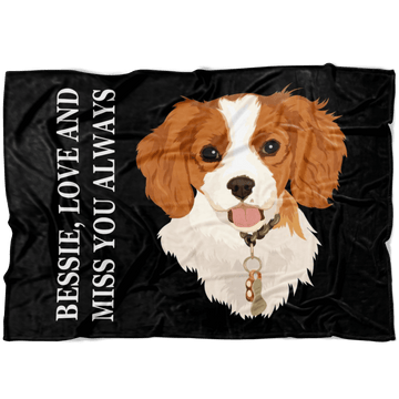 Custom Pet Print Fleece Blanket with Text [Best Seller]