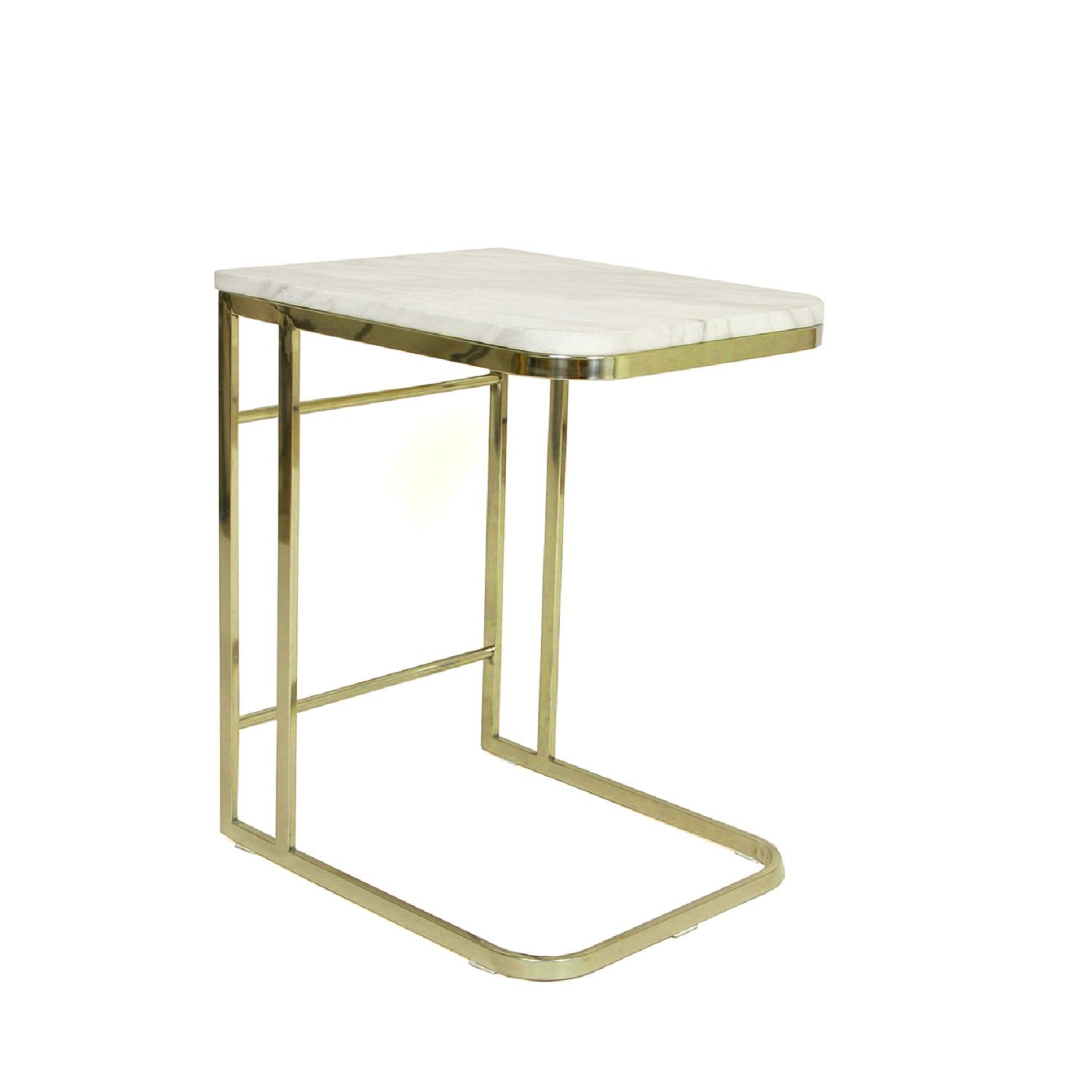 [FHT40MBLGLD] Carrara Marble Side Table With Stainless Steel Frame Sale