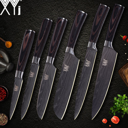 Kitchen Knife Set - Damascus Pattern 7 cr 17 Stainless Steel
