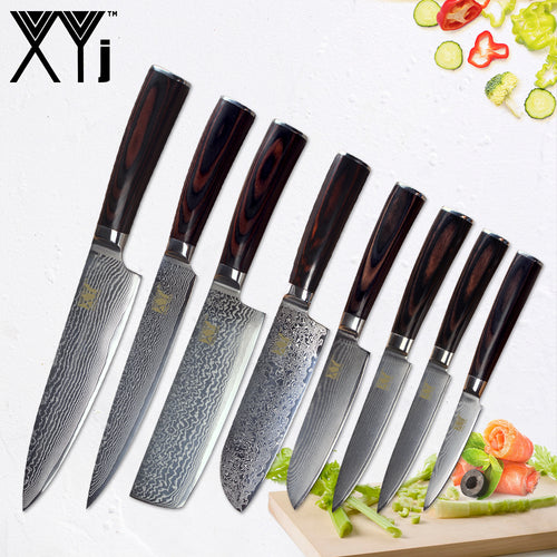 8 pcs Set, Damascus VG10 Chef Knives