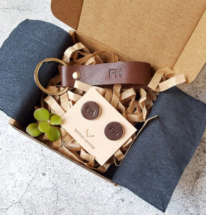 personalised leather gift set for men