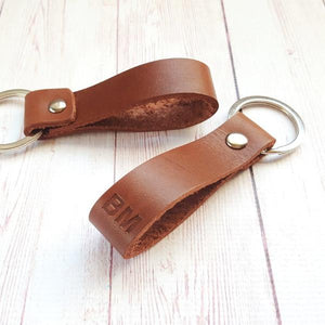 Personalized Leather Keychain - Custom Monogram Leather Keyring - Anniversary Gift for Him Boyfriend Dad - Mens Gift - Fathers Day Gift