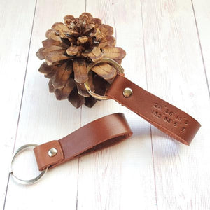 Personalized Coordinate Leather Keychain - Custom Latitude Longitude Key Fob - Third Anniversary Gift for Him - Long Distance Boyfriend Gift