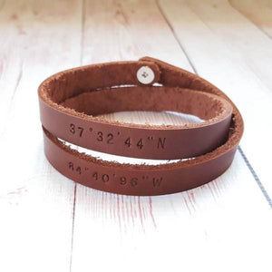 Personalized Leather Bracelet - Custom Message Double Wraps Bracelet - Gifts for boyfriend - Couple bracelets - Anniversary Gifts