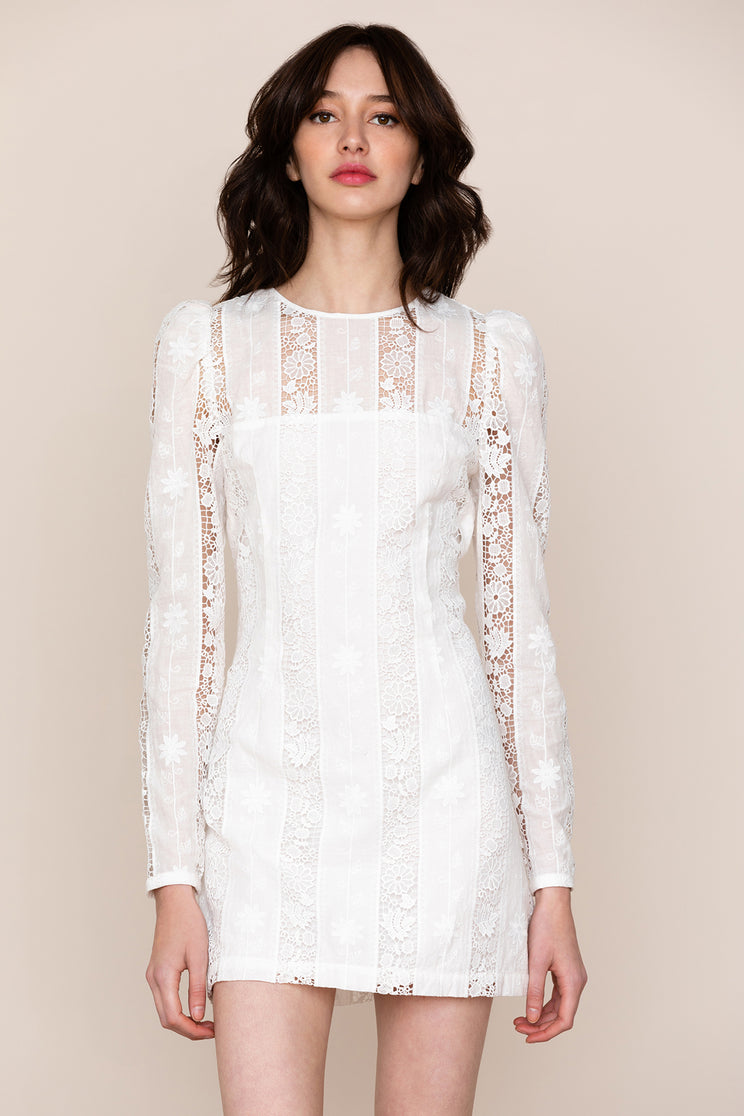 Channel romance in Yumi Kim's Good Timing White Lace Shift Dress.