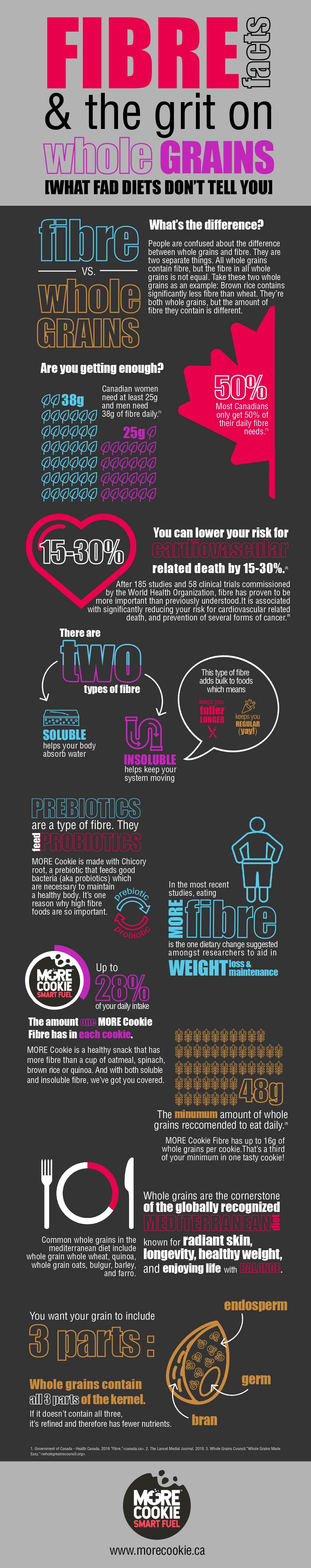 The Infographic about the Facts on Fibre and Importance of Whole Grains