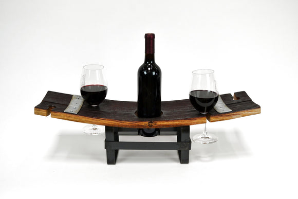 WINE FLIGHT - Kalepi - 2 Glass Wine Flight and Glass holder made from retired California wine barrels - 100% Recycled!