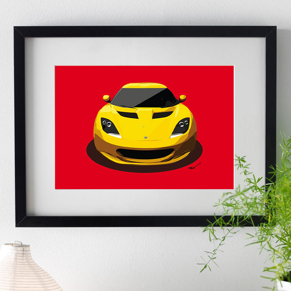Lotus Evora - yellow on red - A3/A4 Stylised Print