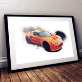 "Lotus Exige S1 - Chrome Orange / Black - A3/A4 Print ""Splatter"""