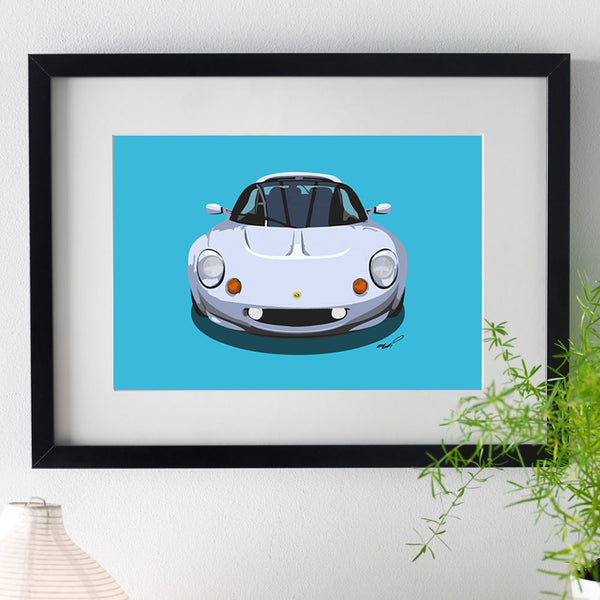 Lotus Elise S1 - silver on blue - A3/A4 Stylised Print