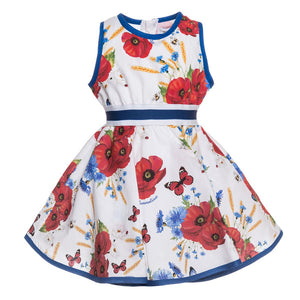 Monnalisa Bebe' Girls Poplin Poppy Dress