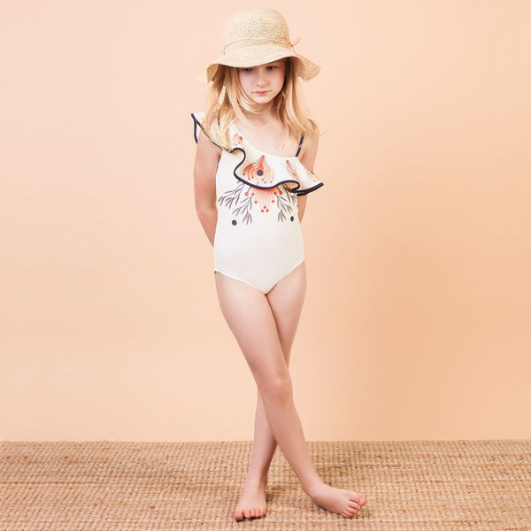 Chloe Girls Ivory Ruffle Swimsuit