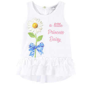 Monnalisa Bebé Girls White Cotton Daisy Top