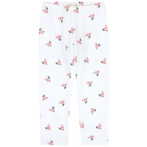 Monnalisa Bebé Girls White Cotton Roses Leggings