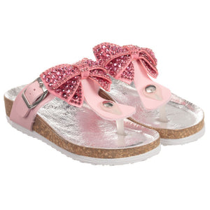 Monnalisa Girls Pink Diamanté Sandals