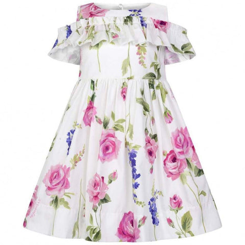 Monnalisa Girls Ivory Cotton Rose Dress