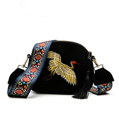Crane Embroidery Velvet Bag - 2 colours