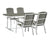 WE Furniture Patio Outdoor Coastal Outdoor - Dining Set, Grey and White - 5 Pieces