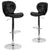 2 Pk. Contemporary Tufted Vinyl Adjustable Height Barstool with Chrome Base