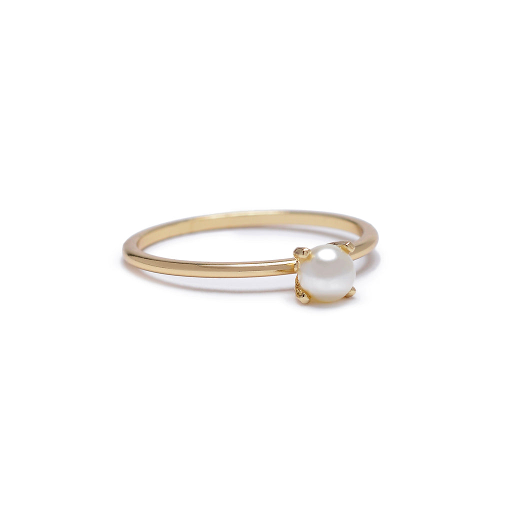 Minimal Pearl Ring - Bing Bang Jewelry NYC