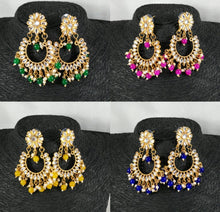 Load image into Gallery viewer, Lightweight Kundan Polki Chandbalis With Bead Drops