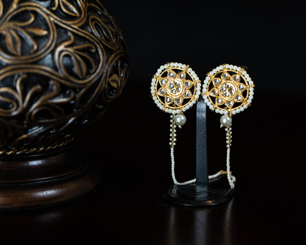 Pearl Circle Kundan Flower Earrings