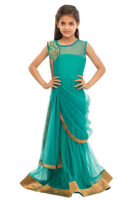 Girls Green Draped Gown