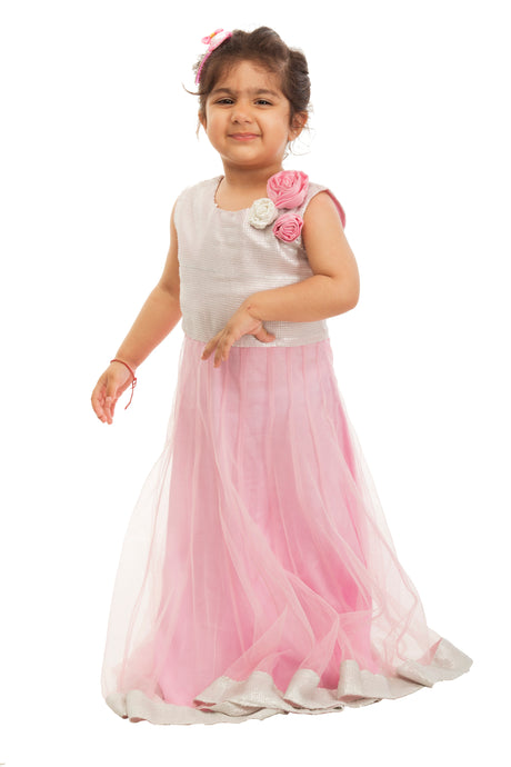 Girls Pink Sequinced Gown