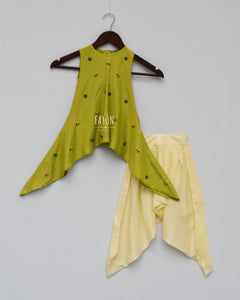 Girls Lime Green Kurti With Dhoti in New York