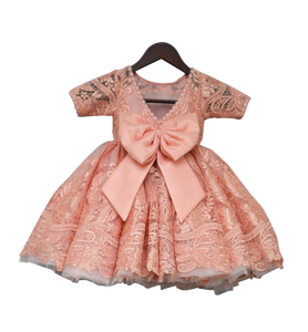 Girls Peach Lace Gown