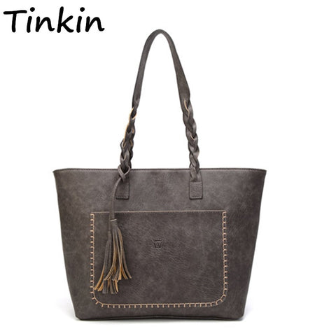 Vintage PU Tassel Women Shoulder Bag