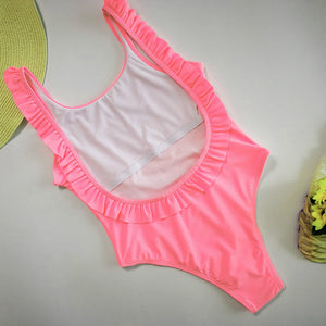 Halter Solid Color 3D Flounced One-Piece Swimsuit