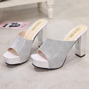 Casual Pure Color Thick Heel Fish Mouth Sandals