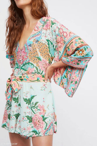 Fashion V Collar Floral Printed Romper