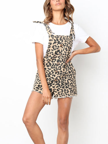 Leopard Print Backless Loose Casual Jumpsuit