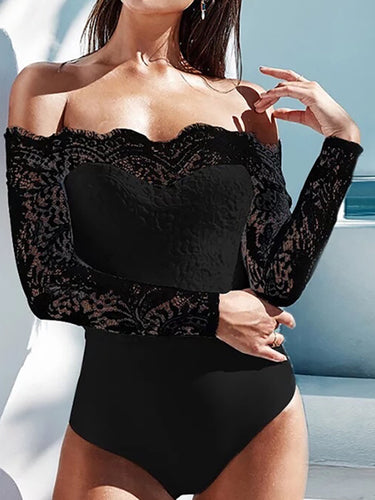 Sexy Off-Shoulder Lace Long Sleeve Perspective Rompers