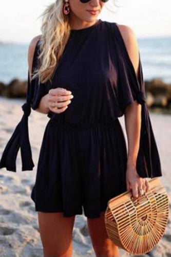 Sexy Black Off Shoulder Split Rompers