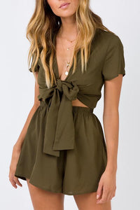 Fashion Short Sleeves Bowknot Rompers