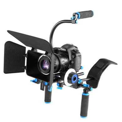 DSLR Deluxe Video Rig Kit- Follow Focus, 15mm Rails, Riser Mounts, Shoulder Support, Matte Box, Front grips & Brackets - Paramount Camera & Repair - Saskatoon Canada Used Cameras Used Lenses Batteries Grips Chargers Studio