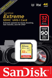 SanDisk Extreme 32GB SDXC UHS-I SD Card Memory Read:90mb/s-Write:40mb/s - Paramount Camera & Repair - Saskatoon Canada Used Cameras Used Lenses Batteries Grips Chargers Studio