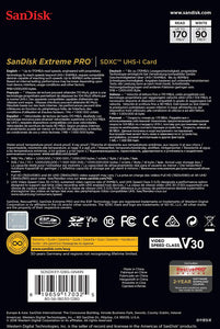 SanDisk 128GB Extreme Pro SDXC SD Card Memory - Read:170mp/s-Write:90mb/s - Paramount Camera & Repair - Saskatoon Canada Used Cameras Used Lenses Batteries Grips Chargers Studio