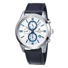 Daniel Klein 11845-6 Leather Band Analog Chrono Watch- Blue
