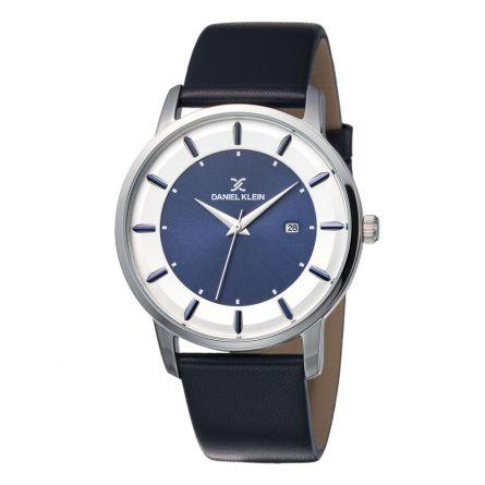Daniel Klein 11847-6 Leather Band Analog Chrono Watch- Blue