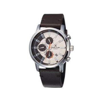 Daniel Klein 11843-4 Leather Band Analog Chrono Watch- Brown