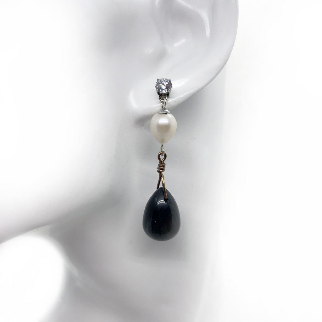 onyx, pearl, earrings