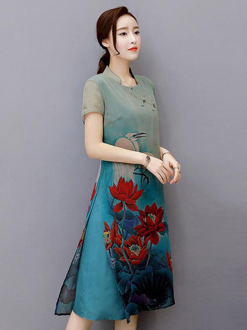 National Beautiful Dress with Lotus Scene Print