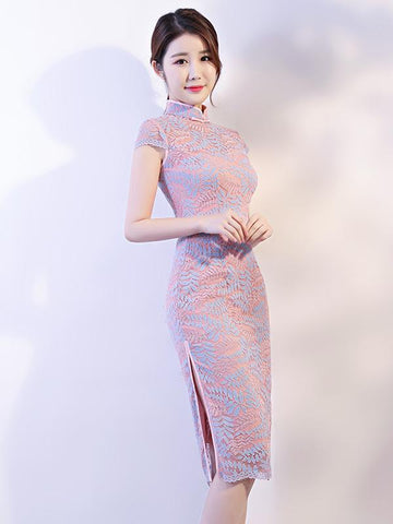 Pink Lace See-through Split-side Short Cheongsam